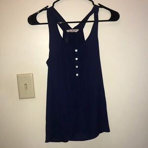 Navy blue tank top with buttons